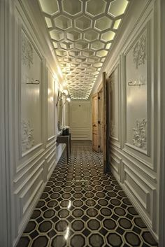 Great honeycomb patterns and wall panels! This is the public corridor in the House Hotel in Istanbul.