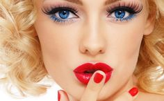 Picture of Young beautiful sexy blonde with stylish make-up and hairdo and touching her lips, on white background stock photo, images and stock photography. Cheer Eye Makeup, Sexy Eye Makeup, Eye Makeup Art, Beauty Makeup, Eyelash Tinting, Eyebrow Tinting, Burlesque Makeup, Eyebrow Design, Lipstick Style