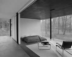 bedroom in the Gefter Press House by Michael Bell Architects