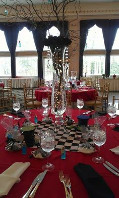 Pretty table settings at an Alice in Wonderland birthday party! See more party ideas at CatchMyParty.com!
