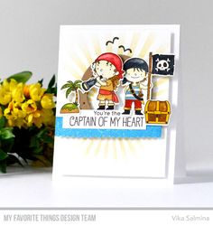 Party Like a Pirate Stamp Set and Die-namics, Ocean View Porthole Die-namics, Ocean Fun Die-namics, Radiating Rays Stencil - Vika Salmina  #mftstamps