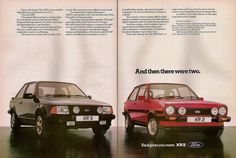 Ford Fiesta XR2 and Ford Escort XR3 Advert 1982 by Trigger's Retro Road Tests!, via Flickr