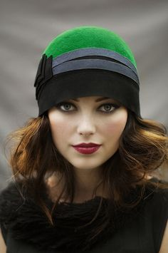 Emerald Cloche Hat with Ribbon by MaggieMowbrayHats on Etsy
