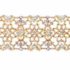 Diamond 18k Three Tone Gold Mesh Bracelet