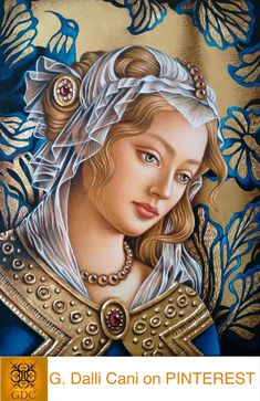 Giada Dalli Cani - Head - Oil paint and gold leaf on MDF board. Christian Artwork, Blessed Mother Mary, Sacred Art, Renaissance Art, Religious Art, Virgin Mary, Our Lady, Resin Art, Madonna