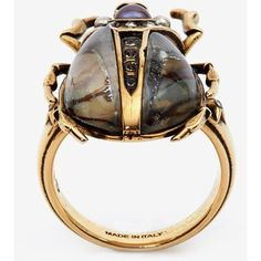 Alexander McQueen Beetle Ring ($455) ❤ liked on Polyvore featuring jewelry, rings, antique gold, skull jewelry, alexander mcqueen ring, skull jewellery, star jewelry and antique gold jewellery