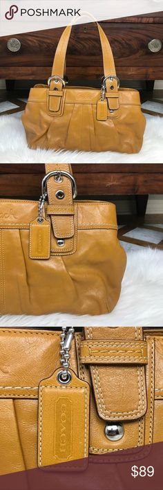 """Coach Cowhide Leather Satchel This Coach is golden mustard color with silver tone hardware limited edition handbag. The purse is in excellent condition and is beautiful. Interior color is soft lavender and very clean with very little evidence of us. Zipper closure. shoulder strap drop is 10 inches.  3 interior pockets Approximate measurements 17 W x 9"""" H x 6""""D. See other listings for matching accessories.  CN44 Coach Bags Satchels"""