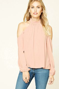 Forever 21 Contemporary - A woven boxy top featuring an open-shoulder design, high neckline, button keyhole back, long sleeves, and a boxy silhouette.