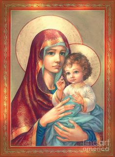 Madonna And Sitting Baby Jesus Digital Art by Zorina Baldescu