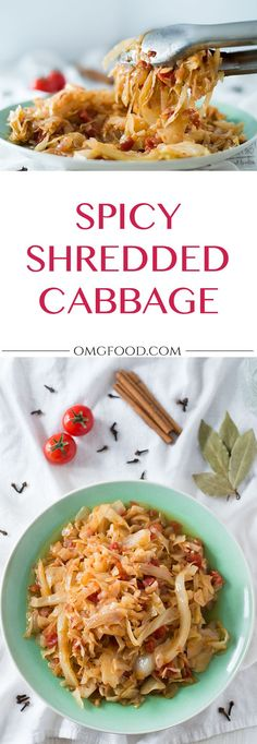 Spicy Shredded Cabbage: A Greek inspired dish of braised cabbage spiced with cinnamon and cloves.   omgfood.com