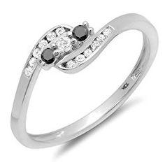 0.25 Carat (ctw) 10K White Gold Black And White Diamond Ladies Anniversary Promise Wedding Ring 1/4 CT