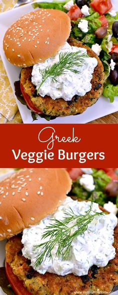 These delicious and easy to make Greek Veggie Burgers with Cucumber Feta Sauce are filled with your favorite Mediterranean flavors!