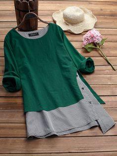 da71e686175 Gracila Stripe Patchwork asimétrico de manga larga camisetas casuales es  moderno