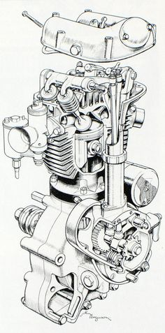 Blueprints and Sectioned art. – The Jockey Journal Board Blueprints and Sectioned art. – The Jockey Journal Board Motorcycle Engine, Motorcycle Art, Bike Art, Car Engine, Technical Illustration, Technical Drawing, Mechanical Design, Mechanical Engineering, Mechanical Art