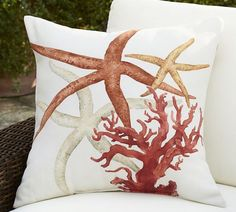 Painted Red Coastal Indoor/Outdoor Pillow | Pottery Barn