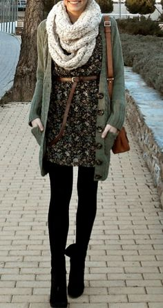 Olive green cardigan, thick cream scarf, floral dress, black tights and booties