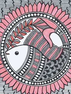 Fish Madhubani Painting x Worli Painting, Saree Painting, Kalamkari Painting, Art Painting Gallery, Fabric Painting, Madhubani Art, Madhubani Painting, Indian Art Paintings, Abstract Paintings