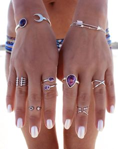 Silver And Black Summer Jewelry rings necklaces bracelets cuffs boho hippie bohemian gypsy jewelry purpurina amethyst #BohoJewelry