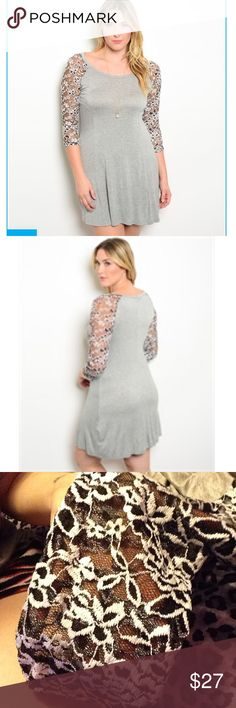 """Gray A-Line Dress Brand new.                                                                   95% rayon and 5% spandex                                     Contrasted 3/4 sleeves.                                         Rounded neckline.                                                    A-line silhouette.                                                      ~Measurements:   1X B: 17"""" W: 17"""" L: 36"""".                   2X B: 18"""" W:18"""" L: 36"""".                                            3X B…"""