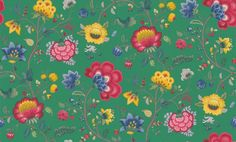 Floral Fantasy (341036) - Pip Wallpaper Wallpapers - An all over wallpaper design featuring a flamboyant floral trail, with large vibrant flowers. Shown here in the emerald green colourway. Other colourways are available. Please request a sample for a true colour match. Paste-the-wall product. Please allow 10-14 working days for delivery as this product comes from abroad.