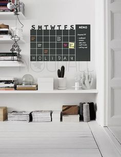 Chalkboard Wall Calender - Monthly Planner - use with Rewriteable Chalk Ink Pen - Modern day Wall Decal Sticker for Home and Office | 1000 Chalkboard Wall Bedroom, Bedroom Wall, Wall Calender, Black And White Wall Art, Black White, Chalk Ink, Ikea Frames, Typography Prints, Typography Poster