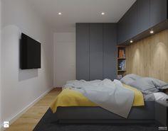 Projekt mieszkania. Kraków Nowe Czyżyny - Średnia sypialnia małżeńska, styl nowoczesny - zdjęcie od PRØJEKTYW | Architektura Wnętrz & Design