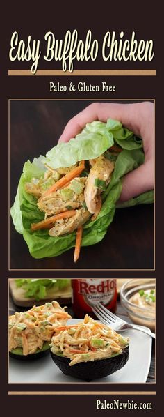 Everything you love about buffalo wings in a creamy, spicy 10-minute paleo and gluten-free meal. Serve as a wrap, salad or stuffed avocado!