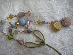 LILAC and GOLDEN Necklace  Handmade clay beaded glass by BlueOpera, $23.50