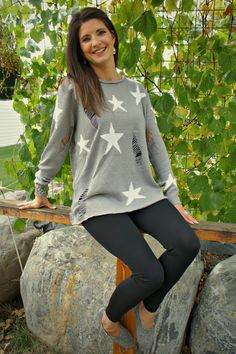 Distressed Star Sweater | Lime Street Fashion