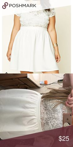 5f5a7dc477 NWT forever 21 white rose dress NWT. Just tried on to show fit. Feel free  to make offers!! Forever 21 Dresses