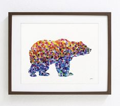 Blue Bear Art Watercolor Painting - 8x10 Archival Print - Colorful Art Bears Grizzly Silhouette Home Decor Wall Art