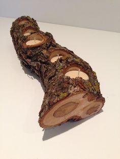 Rustic Oak Log Five-Hole Candle Holder with Bark