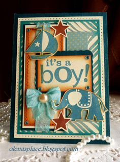 Hand stamped Baby Announcement card  Its a BOY  NEW by llenusik, $6.50