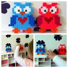 Owls hama beads Animal Crafts For Kids, Craft Projects For Kids, Craft Activities For Kids, Diy For Kids, Pearler Beads, Fuse Beads, Hama Beads Patterns, Beading Patterns, Retro Crafts
