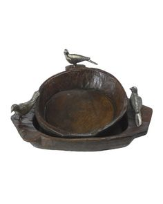 """Hand-carved wood bowl with two forged-iron birds. Shown with one-bird bowl (not available). Approximately 14""""L x 9.5""""W x 9.5""""T. Due to the nature of handcrafting, sizes may vary slightly. Imported."""