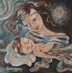 """One of my favorite Katie M. Berggren paintings. In the upper right corner it says: """"I can only imagine the depth of possibility within this child."""""""