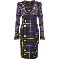 Mary Katrantzou Long Sleeve Jersey Dress (6,385 CNY) ❤ liked on Polyvore featuring dresses, long sleeve print dress, plaid dress, blue paisley dress, blue beaded dress and embellished dresses