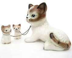 Vintage 1960s Ceramic Cat Figurines - I remember these - mother and babies connected by chains