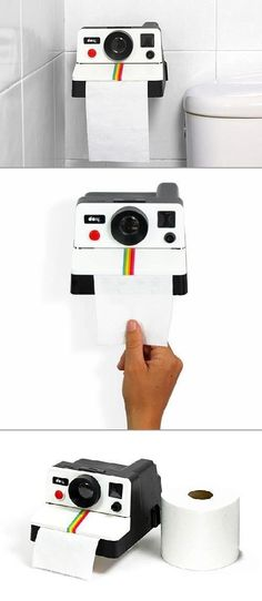 Why can't your bathroom be as unique as you are? Transform your room with some retro fun by adding a Pollaroll paper holder! Looks like an old school Polaroid camera with the paper dispensing where the pictures would pop out. No shaking required!