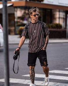 Street style summer outfit for men with a striped pattern. - Street style summer outfit for men with a striped pattern. -… – – shorts Street style summer outfit for men with a striped pattern. Summer Outfits Men, Stylish Mens Outfits, Casual Outfits, Men Casual, Men Summer Fashion, Vintage Summer Outfits, Men's Fashion, Urban Style Outfits, Summer Clothes For Men