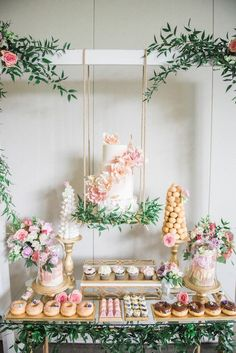 A Darling Dessert Display for a Birthday with gorgeous captures by L'Est. A Darling Dessert Display for a Birthday with gorgeous captures by L'Estelle Photography, florals by Bootah Jardin Flowers and Desserts by Hello Sunshine Cake Studio Candybar Wedding, Wedding Desserts, Wedding Dessert Tables, Dessert Table Backdrop, Wedding Centerpieces, Wedding Candy Buffet, Dessert Display Table, Pink Dessert Tables, Tall Wedding Cakes