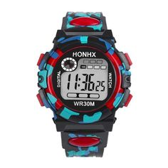 Cheap Kids Child Boy Girl Multifunction Waterproof Sports Electronic Watches Gift relogio feminino masculino Uhren Click visit to check price Boys Watches, Sport Watches, Children's Watches, Wrist Watches, Casual Watches, Camouflage, Valentines Jewelry, Waterproof Watch, Kids Sports