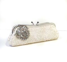 Blushing Bride Clutch - vintage brooch - ready to ship