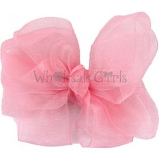 Pink Organza Hair Bow with Clip