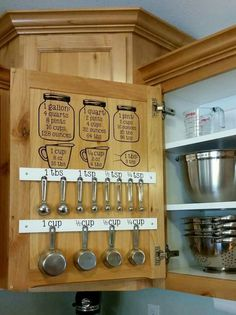 Helpful kitchen cupboard measurements and door storage