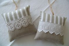 Lace really stands out on burlap or linen