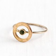 Antique 10k Rose Gold Peridot Target Ring  Early 1900s Size 5