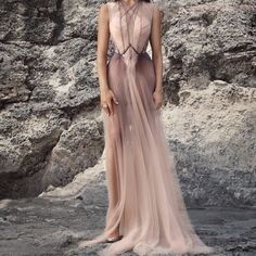 Material: Polyester Silhouette: A-Line Dress Length: Floor-Length Sleeve Length: Sleeveless Combination Type: Single Waist Line:. Evening Dresses, Prom Dresses, Formal Dresses, Fantasy Gowns, Colorblock Dress, Beautiful Gowns, Dream Dress, Dress Brands, Pretty Dresses