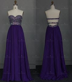 A-line Purple Sexy  Open Back Beaded Bodice Prom Dress  Chiffon Prom Dresses Gown Online Chiffon Bridesaid Dresses