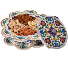 Shop Little India Meenakari Work dry fruit Box with 4 partitions (DLI3HCF306) online at lowest price in india and purchase various collections of Handicrafts in Little India brand at grabmore.in the best online shopping store in india